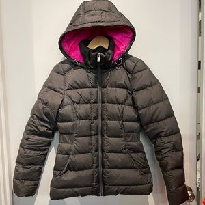 Black Puffy Zipup Hooded North Face Coat